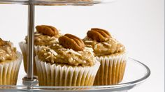 Banana Buttermilk Cupcakes - Recipes - Best Recipes Ever - Lighter in texture than banana bread, these cupcakes are a great way to use up spotty bananas. If desired, finish cupcakes with Coconut Pecan Topping. Banana Bread Cupcakes, Buttermilk Cupcakes, Pumpkin Spice Cupcakes, Easy Smoothie Recipes, Snack Recipes, Yummy Recipes, Snacks, Cupcake Recipes, Cupcake Cakes