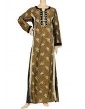 "aljalabiya.com: ""Suri Bella"" Cotton kaftan with machine embroidery and velvet (N-10793)  $119.00"