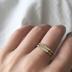 Bar Signet Ring. Engraved Ring. Gold Ring. Custom Signet. 14k Gold Signet.  A solid 14kt gold modern signet ring with a custom engraving cast in recycled metal. A simple and dainty ring perfect for everyday wear. Ring is pictured in 14k yellow gold, but would look amazing in rose or white as well. Measurements: Back of band: 1-1.5mm x 1-1.5mm Face of Ring - 12mm x 2.5mm x 1.5mm  **Leave a note once purchased of what you would like engraved on the face of the ring in either script or block…