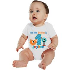 This Little Monster is 1 Birthday Boy Bodysuit by bodysuitsbynany on Etsy