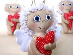 Valentine's day Doll Angel and Heart. Height 6. by LightDolls, $10.00