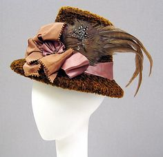Hat Date: 1870s Culture: American Medium: cotton, silk, feathers
