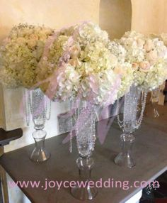 crystal tall wedding white hydrangea feather | Tall #Vase #White #Centerpieces for #Wedding #Reception