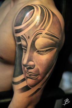 Buddha Tattoo Designs and Ideas Mehr Buddha Tattoo Design, Buddha Tattoos, Dog Tattoos, Life Tattoos, Tribal Tattoos, Tattoos For Guys, Calf Sleeve Tattoo, Full Sleeve Tattoos, Tattoo Mama