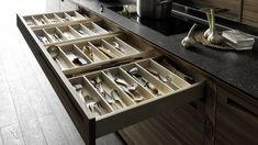 Valcucine Sine Tempore Remodelista Cutlery Drawer - take a look at this whole kitchen - LOVE