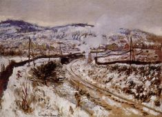 """Art EyeWall on Twitter: """"'Train in the Snow at Argenteuil' by Claude Monet #painting #impressionism #landscapes #Monet ❄️❄️❄️… """""""