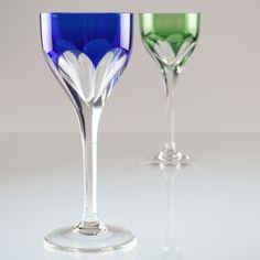 2 Vintage Kristall Weingläser Weißweingläser blau grün Römer R5M