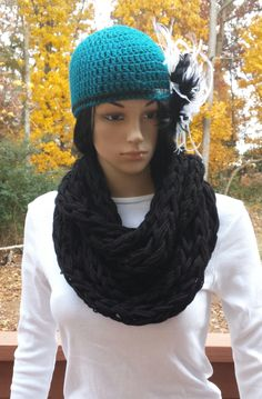Crochet Infinity Scarf Pattern, Chunky Infinity Scarves, Crochet Scarves, Plus Size Outfits, Cowl, Size Clothing, My Style, Crocheting, Ship