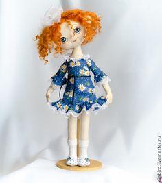 """Купить Кукла текстильная интерьерная.""""Мамина дочка"""" - синий, рыжий, белый, ромашки, рыжая кукла"""
