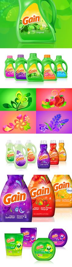 Gain Liquid Laundry Detergent, Fabric Softener & Flings Package Design | by Chase Design Group