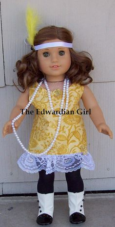My 1920's inspired Great Gastby doll dress for soft bodied dolls.    I have two for sale here.  https://www.etsy.com/listing/151560373/yellow-1920s-great-gatsby-american-girl