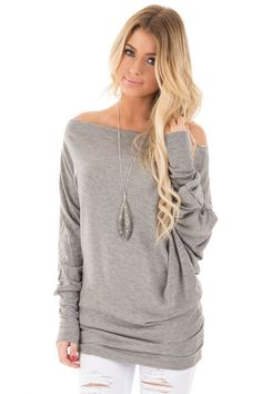 Lime Lush Boutique - Heather Grey Off Shoulder Dolman Knit Top 0451f2b88