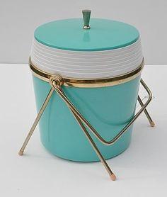 Vintage / retro ,Mid-century aqua ice bucket.