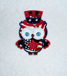 USA 4th of July boy Owl applique iron on patch by KaGiApplique, $6.00