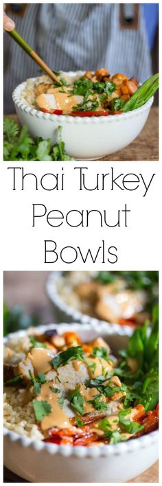 Thai Peanut Turkey Rice Bowls