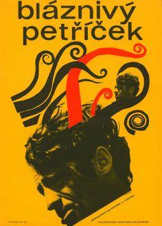 PIERROT LE FOU Amazing Original 22x32 in Czech Poster JEAN-PAUL BELMONDO GODARD  hilmar jiri