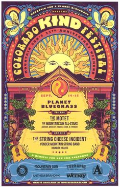 concert poster design Concert poster for The String Cheese Incident, Yonder Mountain String Band and The Motet at the Colorado Kind Festival at Planet Bluegrass in Lyons, CO in 11 x 17 inches. Posters Vintage, Vintage Concert Posters, Tour Posters, Band Posters, Neon Poster, Poster Poster, Poster Wall, Poster Prints, Design Typography