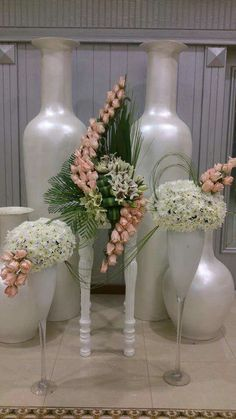 Beautiful floral arrangement with large vases Tropical Floral Arrangements, Large Flower Arrangements, Funeral Flower Arrangements, Altar Flowers, Church Flowers, Funeral Flowers, Deco Floral, Arte Floral, Altar Decorations