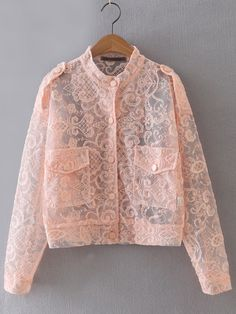 To find out about the Pink Embroidery Button Front Sheer Jacket at SHEIN, part of our latest Jackets ready to shop online today! Look Fashion, Hijab Fashion, Fashion Dresses, Womens Fashion, Fashion Design, Mode Outfits, Casual Outfits, Lace Jacket, Pink Jacket