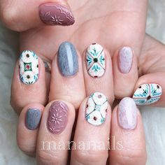 Tile & relief ❁ The design I did at LIVE the other day LIVE does a lot of talks not related to nails, so I do it with my account Moth It is included 180 minutes . Pink Nail Designs, Cool Nail Designs, Stylish Nails, Trendy Nails, Cute Pink Nails, Vintage Nails, Nail Patterns, Nails Inspiration, Beauty Nails