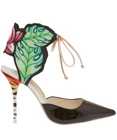 lend your look a tropical flair, with these sophia webster sandals . inspired by the art of henri rousseau, the unique design plays vibrant botanicals against . Fashion Cover, Fashion Clothes Online, Women's Shoes Sandals, Floral Sandals, Heeled Sandals, High Heels Stilettos, Gold Leather, Me Too Shoes, Fashion Accessories