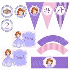 Princess Sofia Birthday Party Kit by MyDarlinDesigns on Etsy, $25.00