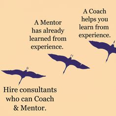 A Mentor has already learned from experience. / A Coach helps you learn from  experience. / Hire consultants who can Coach & Mentor.