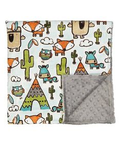 Lolly Gags 28 x 32 Fox & Charcoal Stroller Blanket | zulily