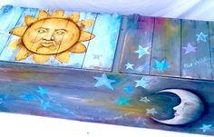Custom Built Furniture Art Painted on Barn Wood 6 FEET LONG Trunk Funky Whimsical Stars Suns Moons  Reclaimed Wood Storage