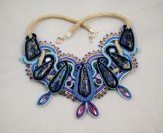 Soutache jewelry statement Necklace Endless by ETSoutacheJewellery