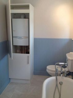 how to disguise a boiler in the bathroom Bathroom Cupboards, Laundry Room Cabinets, Bathroom Layout, Small Toilet Room, Small Laundry Rooms, Small Bathroom, Bad Inspiration, Bathroom Inspiration, Boiler Cover Ideas