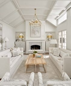Cozy all white and gold transitional living room decor with white custom sofas & marble fireplace #transitionallivingroom #luxurylivingroom #whitelivingroom #restorationhardware #luxurydecor #luxuryhome #dreamlivingroom #modernfarmhouse #transitionalstyle #modernstyle #artdecodecor #glamourdecor #elegantdecor #elegantlivingroom #beautifullivingroomdecor Shabby Chic Living Room, Shabby Chic Interiors, Elegant Living Room, Living Room Decor, Cream And Gold Living Room, Living Room Orange, Interiores Shabby Chic, White And Gold Decor, Transitional Living Rooms