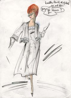 Edith Head costume sketch of Lucille Ball for the television special Mr. and Mrs. (Desilu, 1964)