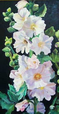 Hollyhock watercolor by? Painting & Drawing, Watercolour Painting, Watercolor Pencils, Watercolor Flowers, Painting Flowers, Watercolors, Art Floral, Hollyhocks Flowers, Art Aquarelle