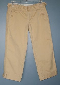 American Eagle Outfitters stretch yellow tan casual cropped pants womens size 2 #AmericanEagleOutfitters #CaprisCropped