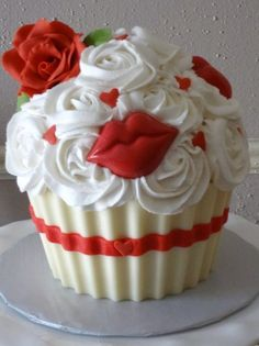 Red velvet cake, with a chocolate wrapper and iced in buttercream