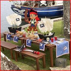Jake and the Neverland Pirates Birthday Party table - change colors to pink and centerpiece to Izzy for girls party
