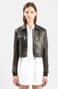 Women's Topshop Unique 'Mason' Crop Leather Bomber Jacket