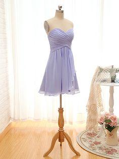 Knee length Sweetheart Lilac Bridesmaid Dress