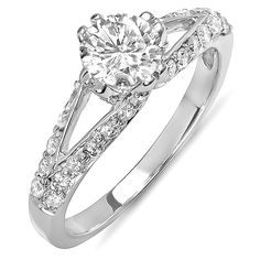 1.00 Carat (ctw) 14k White Gold Round Diamond Ladies Solitaire with Accents Split Shank Bridal Ring 1 CT >>> Unbelievable  item right here! : Engagement Rings Jewelry
