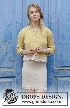 Adele Cardigan / DROPS 187-13 - Casaco tricotado com orla em ponto de ondas e fendas nos lados, em DROPS Belle. Do S ao XXXL.