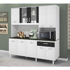 Cozinha Compacta Fit Branco Preto Branco 3D Milani 180 CM