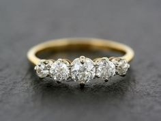 Antique Diamond Ring Edwardian Five Stone by AlistirWoodTait