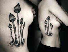 mushroom rib tattoo by Kamil Czapiga
