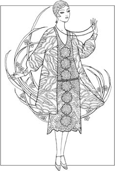 Creative Haven JAZZ AGE FASHIONS Coloring Book by: Ming-Ju Sun Coloring Page 4