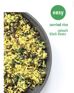 This quick and easy curried rice with spinach and black beans makes a great side dish or vegetarian/vegan main meal. Rice Recipes Vegan, Healthy Dinner Recipes, Curry Rice, Main Meals, Vegan Vegetarian, Food Videos, Spinach, Side Dishes, Beans