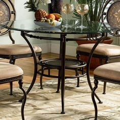 Basil Antique Brown Dining Room Set w/ 45 Inch Table Powell Furniture in Dining Room Sets. Round Dining Table Sets, Dining Table Sizes, Glass Top Dining Table, Pedestal Dining Table, Dining Room Sets, Dining Table In Kitchen, Dining Table Chairs, Dining Room Furniture, Small Dining