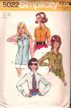 """Vintage 1972 Simplicity 5022 Set of Blouses & Tie Sewing Pattern Size 16 Bust 38"""" by Recycledelic1 on Etsy"""