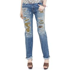 Denim & Supply Ralph Lauren Boyfriend-Fit Patchwork Jeans (2 130 ZAR) ❤ liked on Polyvore featuring jeans, fiske, destructed boyfriend jeans, patchwork jeans, distressed boyfriend jeans, ripped boyfriend jeans and blue jeans