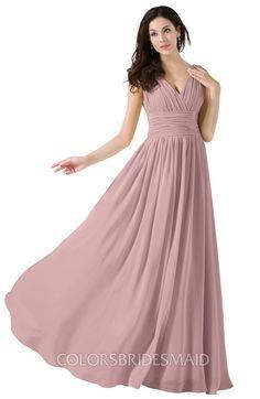 cb1384df97 ColsBM Alana Elegant V-neck Sleeveless Zip up Floor Length Ruching  Bridesmaid Dresses